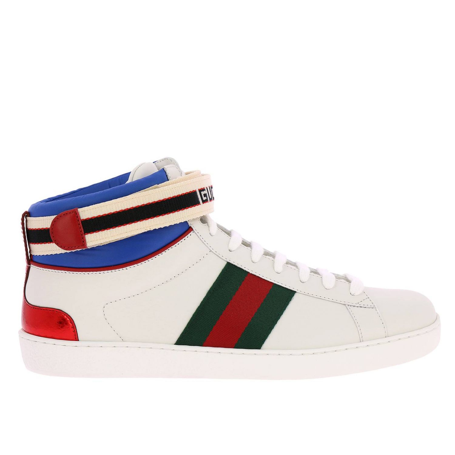 Sneakers New Ace High Sneakers In Soft Leather With Web Gucci Nylon Bands 8399307