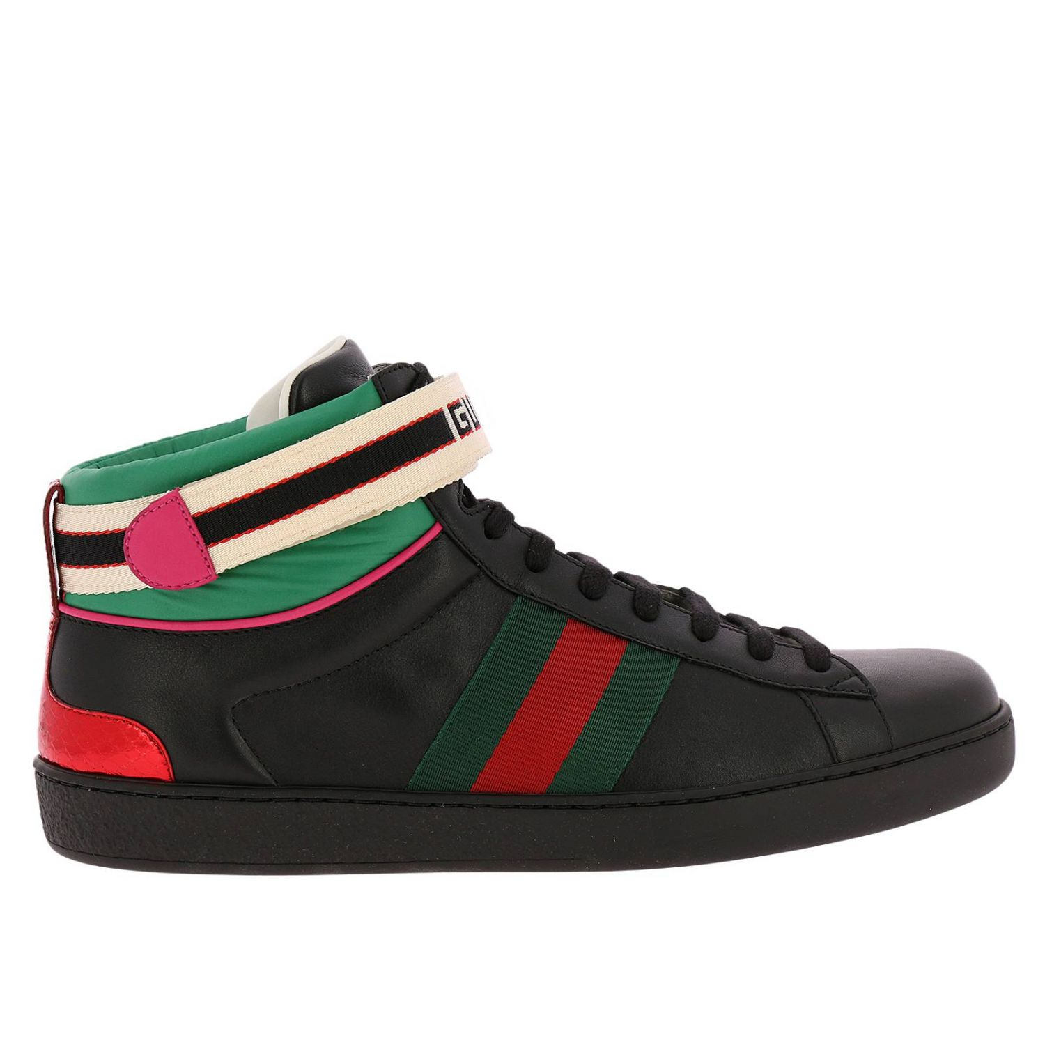 Sneakers New Ace High Sneakers In Soft Leather With Web Gucci Nylon Bands 8399316