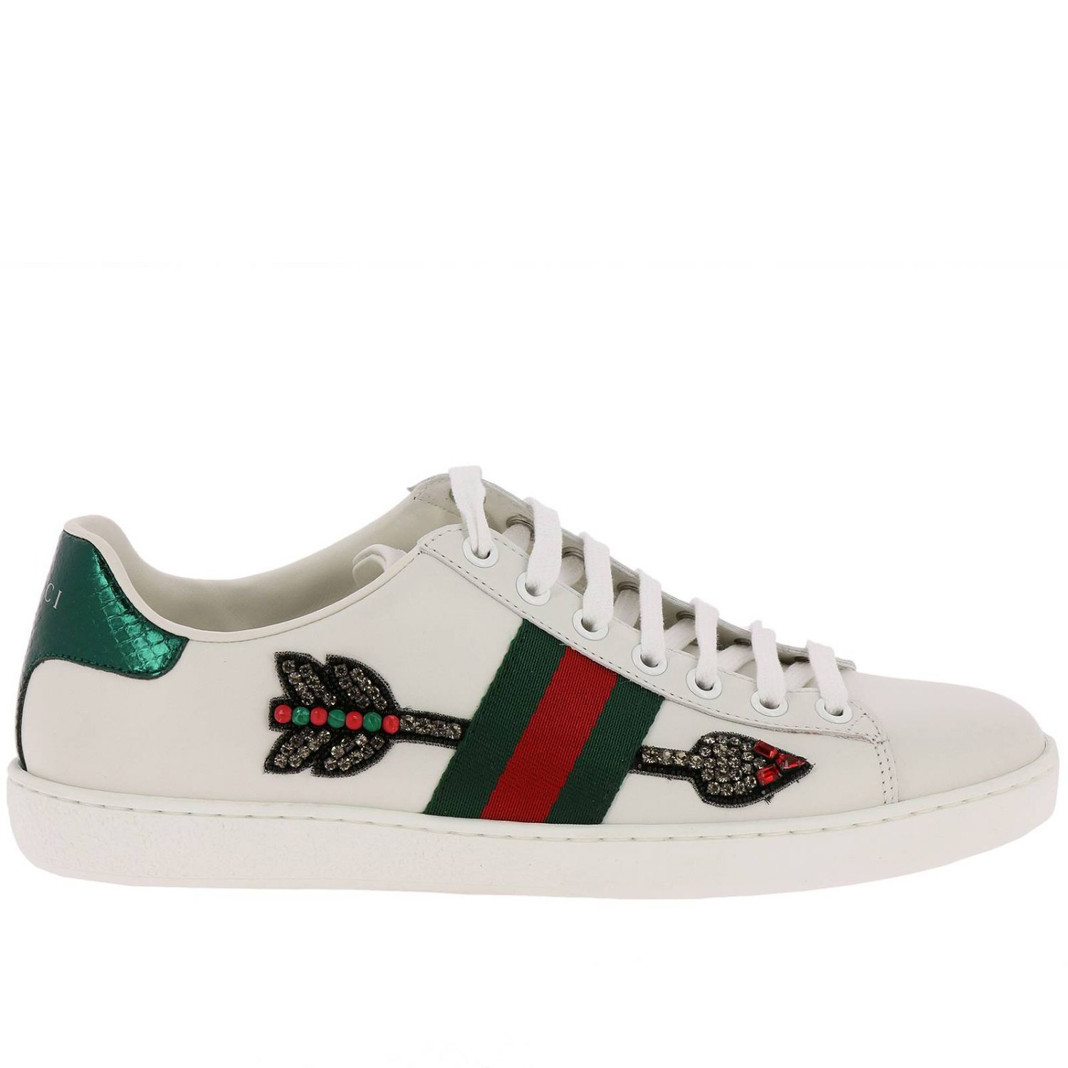 Sneakers New Ace Sneakers In Genuine Soft Leather With Web Bands And Arrow Patch 8400631