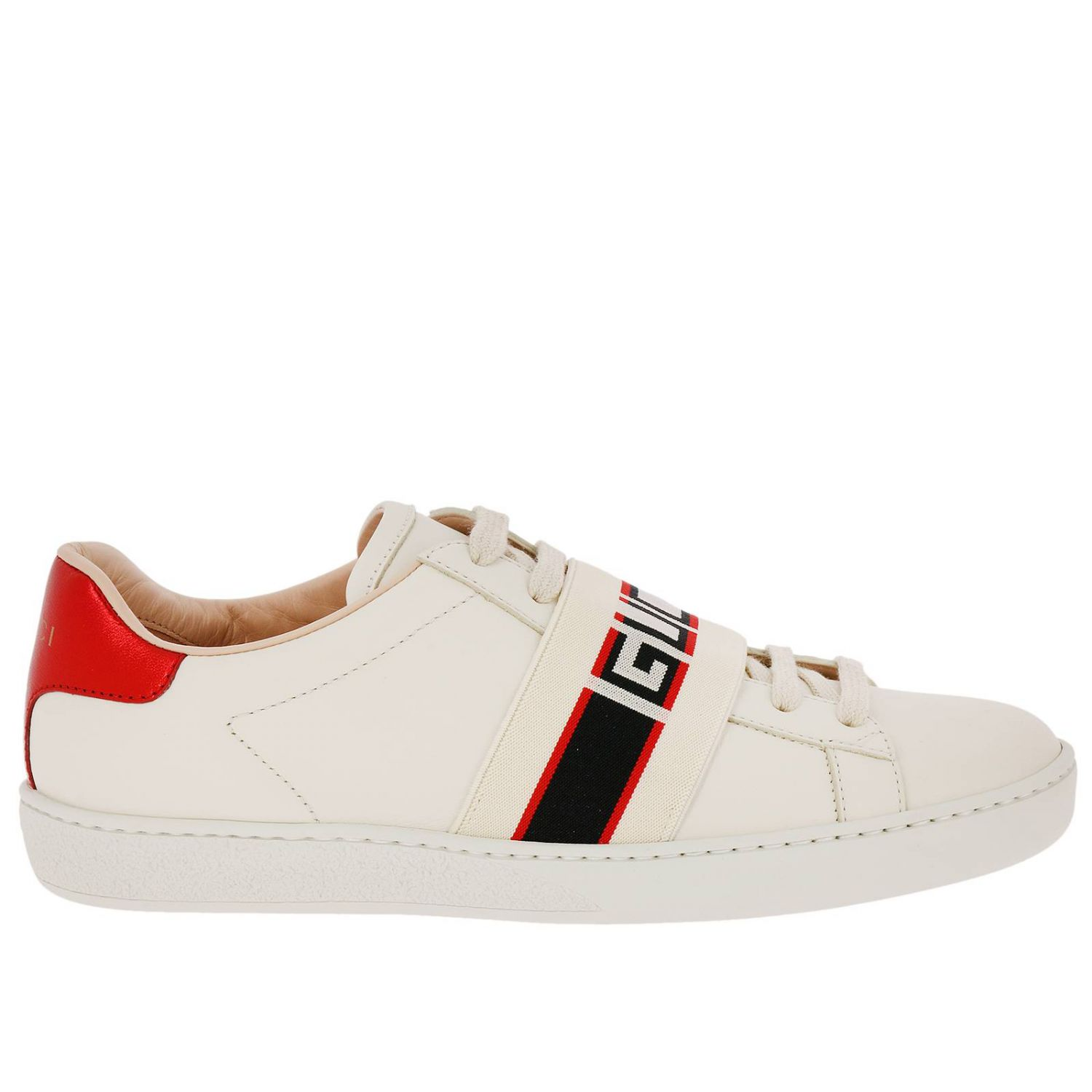 Sneakers New Ace Sneakers In Soft Leather With Gucci Elastic Band 8400651