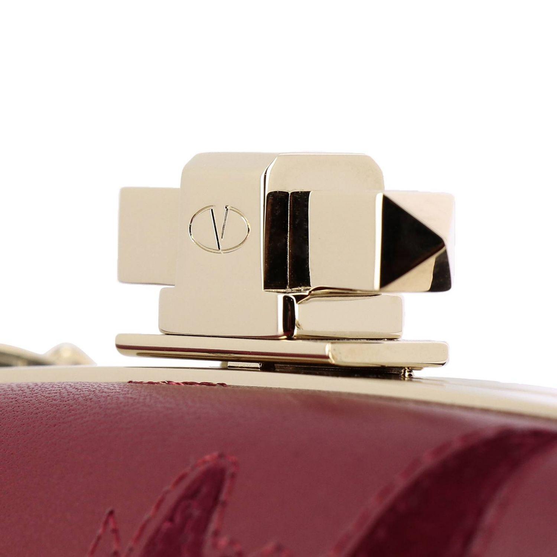 Clutch mini in vera pelle con ricami rosso 5