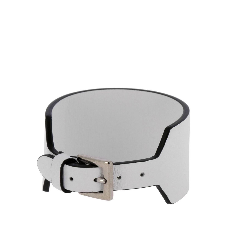 Gioielli Valentino Garavani: Bracciale pelle con vltn bianco 2