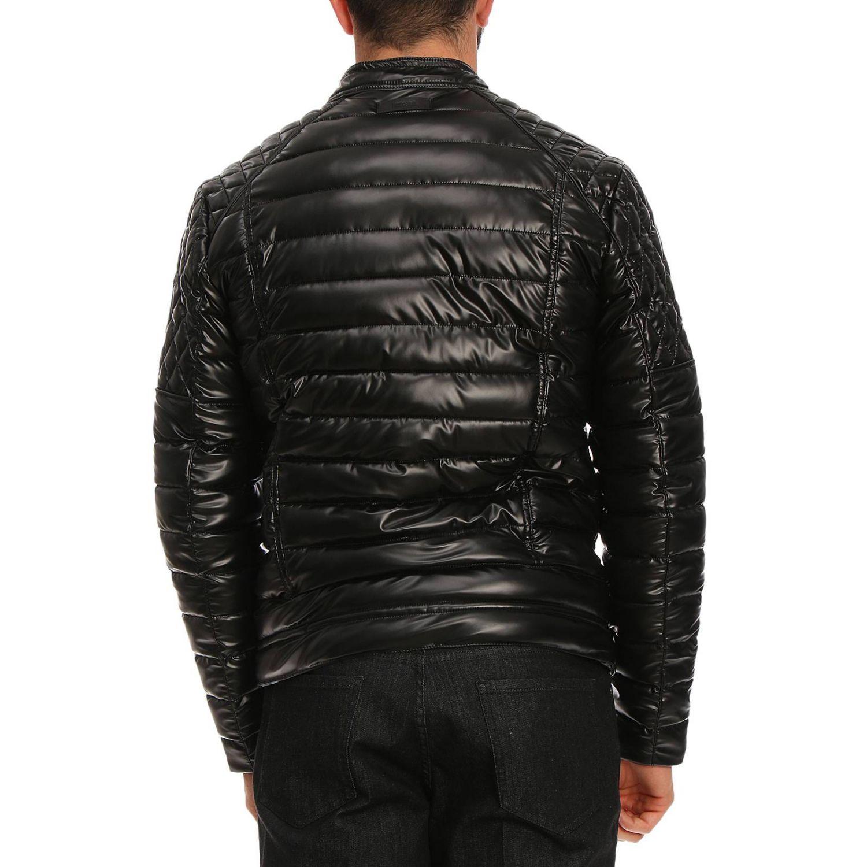 Piumino in stile biker full zip in pelle sintetica con effetto spalmato