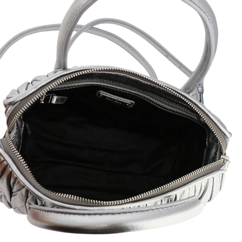 Borsa a mano Miu Miu: Bauletto small in pelle matelassé con tracolla amovibile argento 5