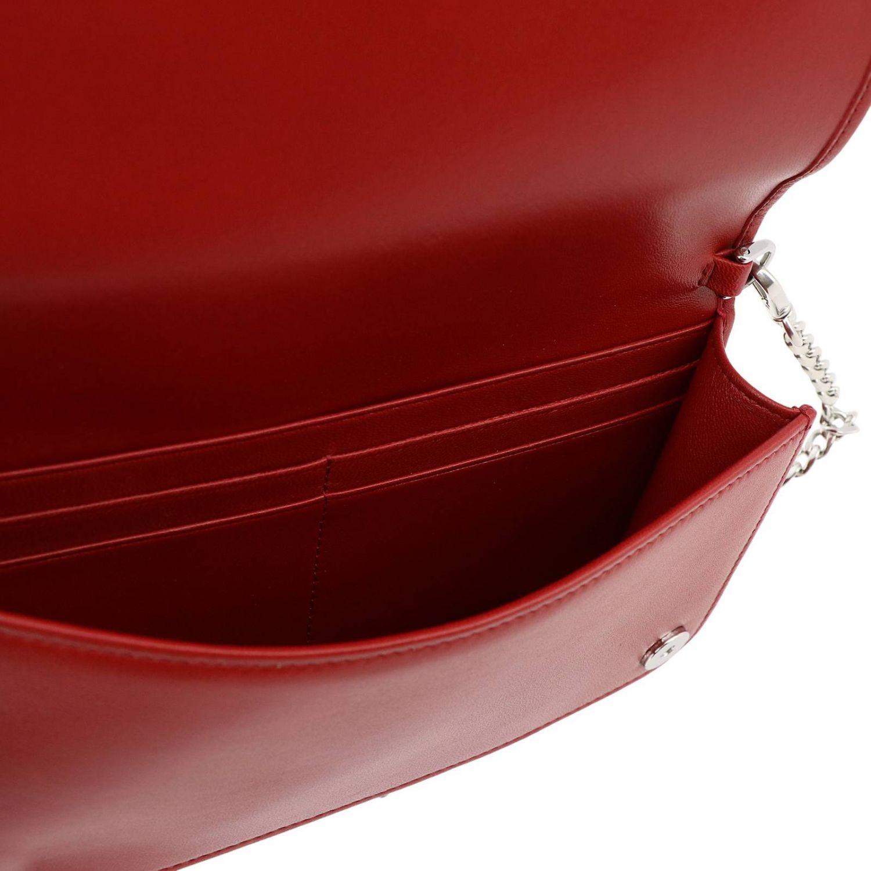 Borsa mini a bandoliera in pelle matelassé con tracolla amovibile rosso 4