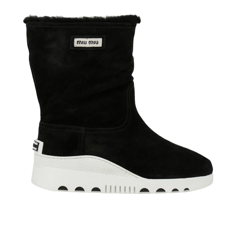 Bottines plates Miu Miu: Chaussures femme Miu Miu noir 1