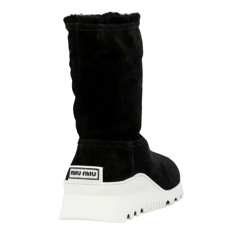 Bottines plates Miu Miu: Chaussures femme Miu Miu noir 4