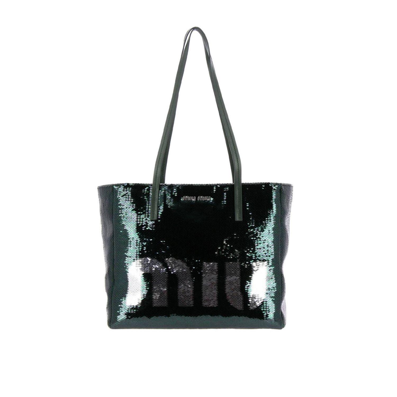 Borsa shopping in pelle e paillettes all over con maxi logo smeraldo 1