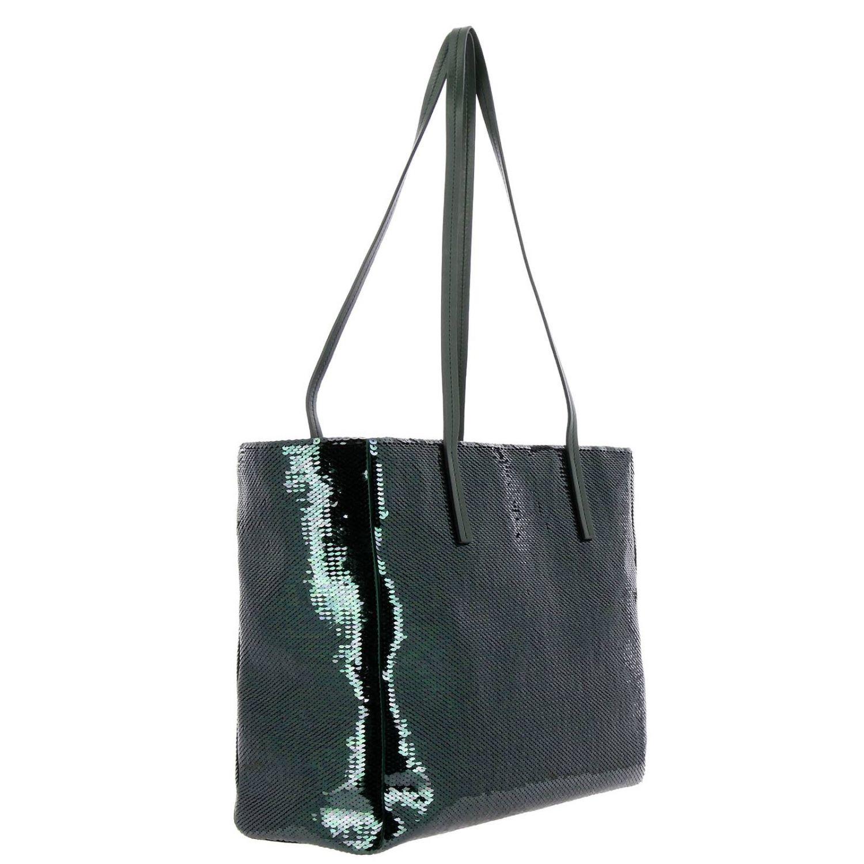 Borsa shopping in pelle e paillettes all over con maxi logo smeraldo 3