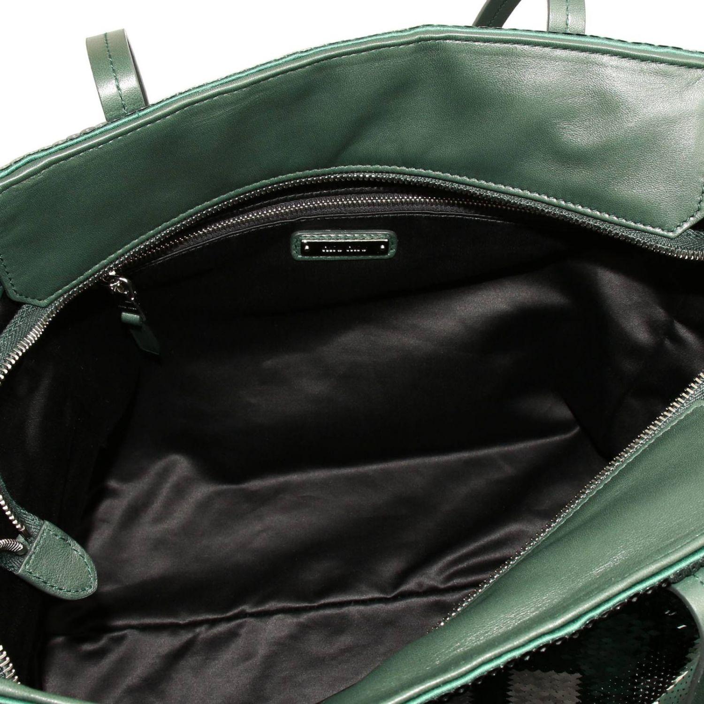 Borsa shopping in pelle e paillettes all over con maxi logo smeraldo 4