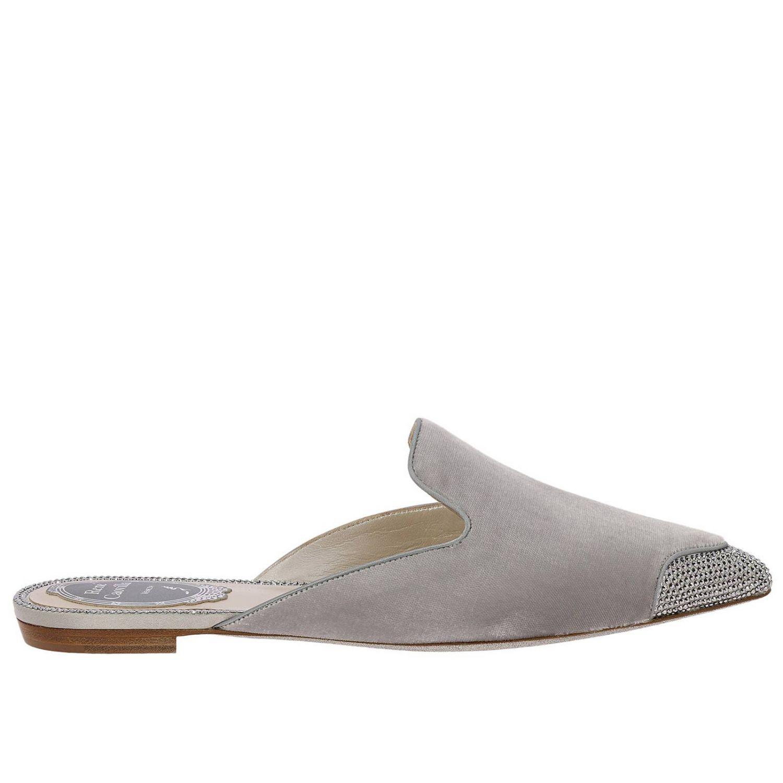 Slipper flat Puntalino in velluto e cristalli grigio 1
