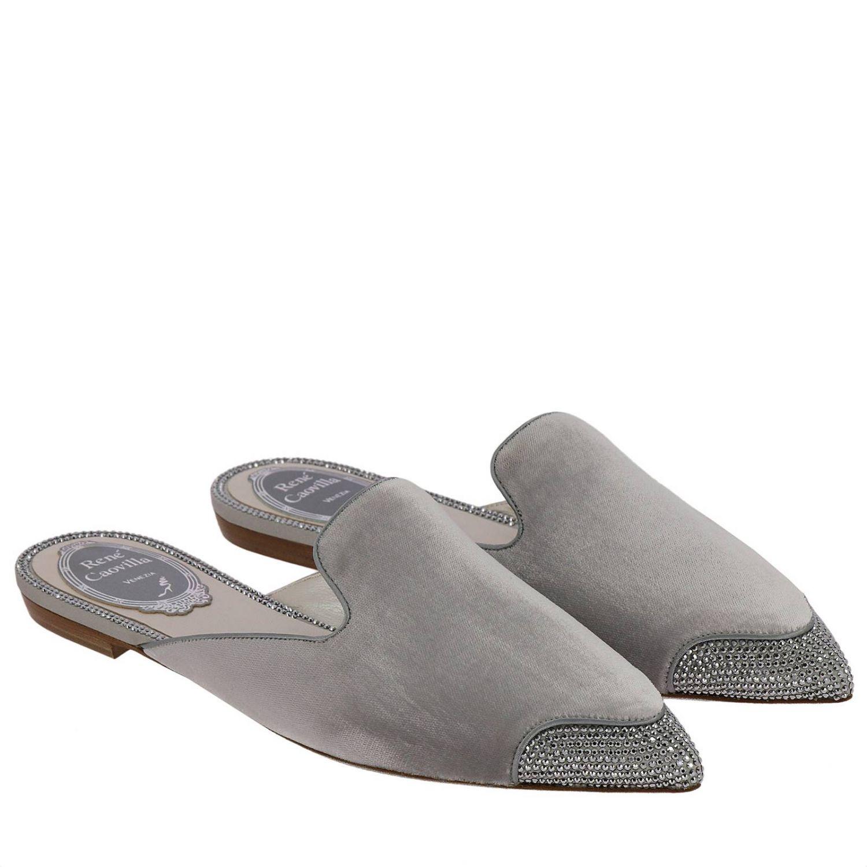 Slipper flat Puntalino in velluto e cristalli grigio 2