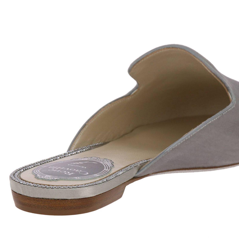 Slipper flat Puntalino in velluto e cristalli grigio 4
