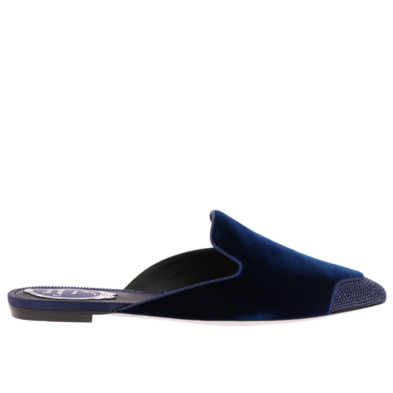 Slipper flat Puntalino in velluto e cristalli blue 1