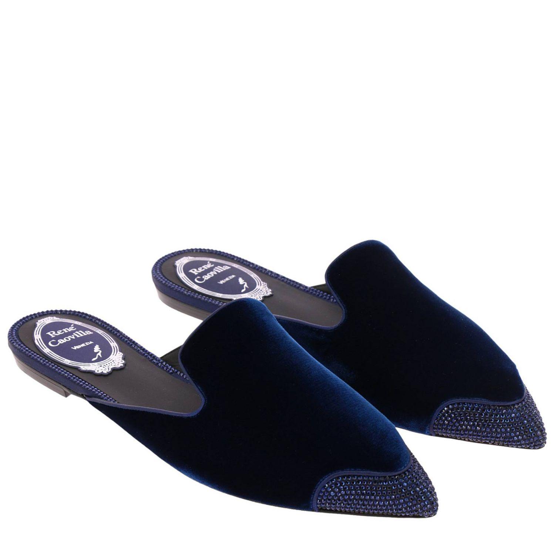 Slipper flat Puntalino in velluto e cristalli blue 2