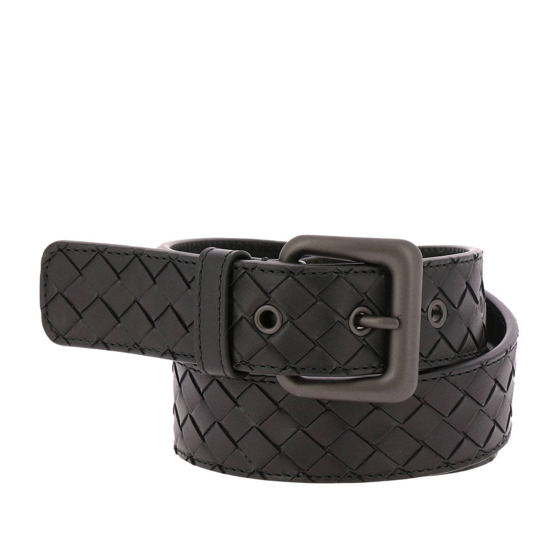 Cintura in pelle con lavorazione intrecciata e fibbia classica nero 1