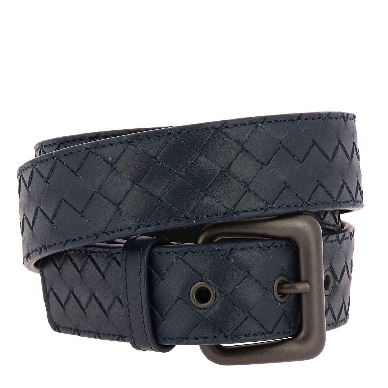 Belt Bottega Veneta: Woven Leather belt with classic buckle blue 1