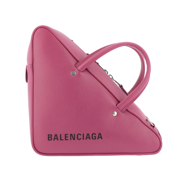 Borsa Duffle Triangle S in pelle con stampa Balenciaga