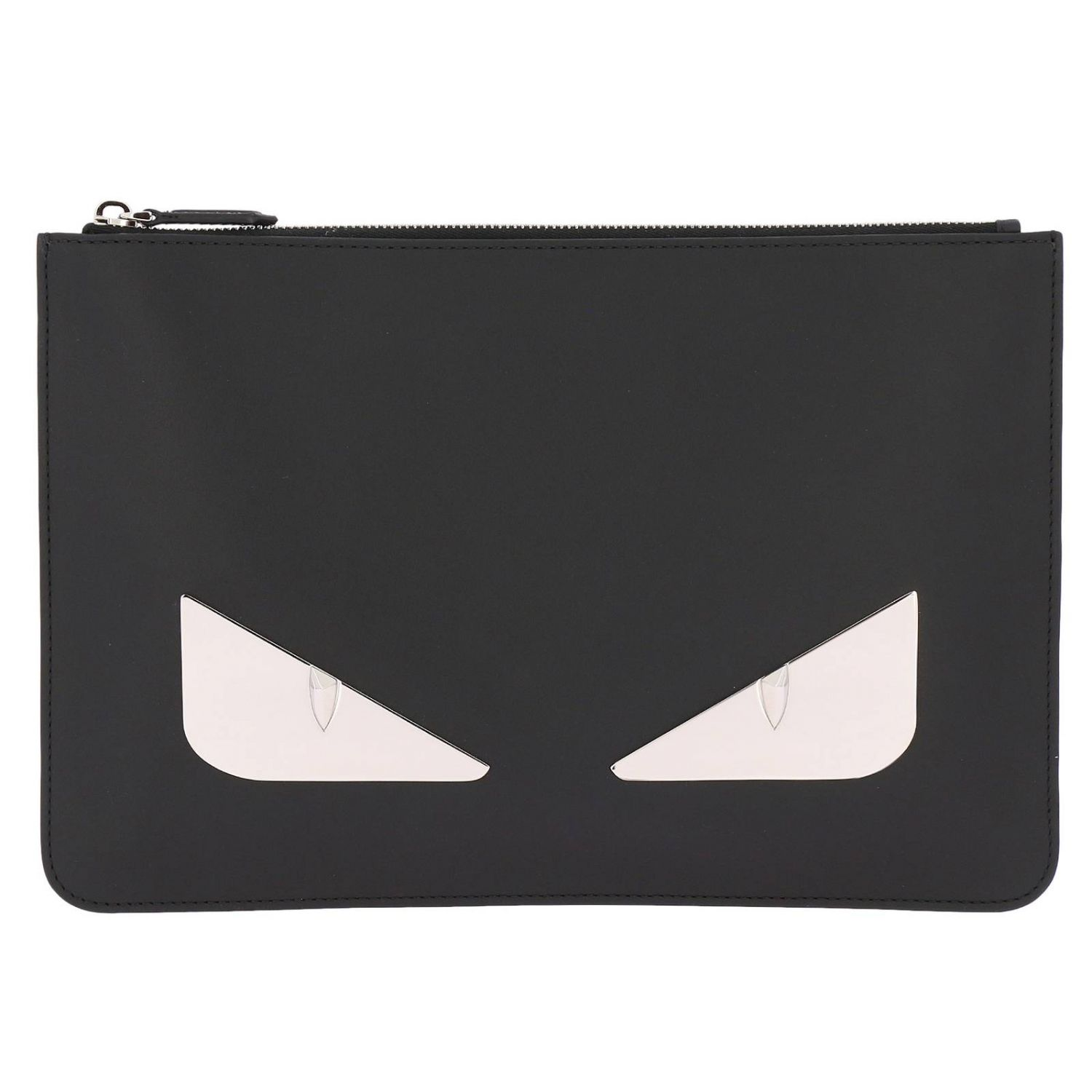 Fendi Monster Eyes clutch bag in smooth leather with maxi metallic Eyes Bag Bugs black 1