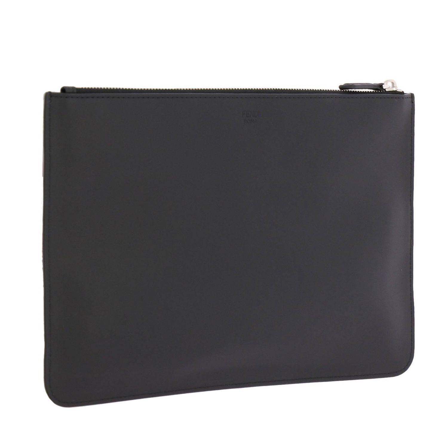 Fendi Monster Eyes clutch bag in smooth leather with maxi metallic Eyes Bag Bugs black 3