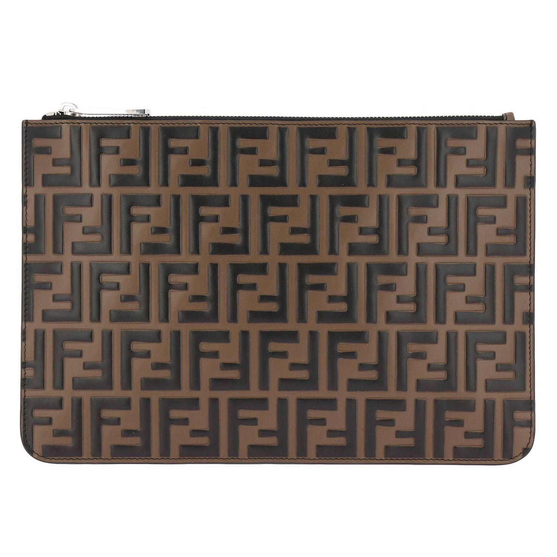 Pochette in pelle con maxi monogramma FF by Fendi embossed marrone 1