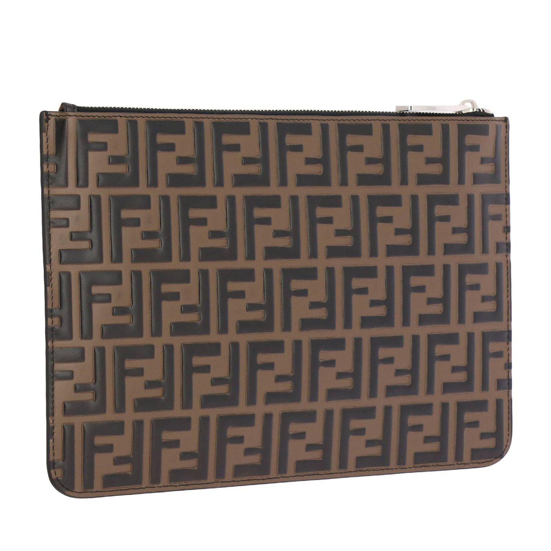 Pochette in pelle con maxi monogramma FF by Fendi embossed marrone 3