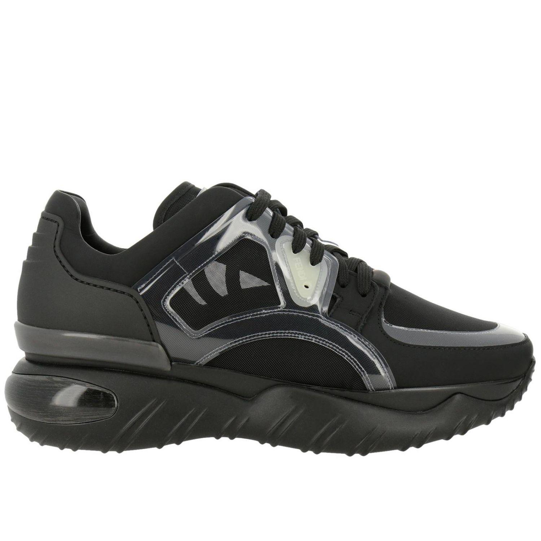 Sneakers stringata in pelle micro rete e pvc con maxi suola in gomma nero 1
