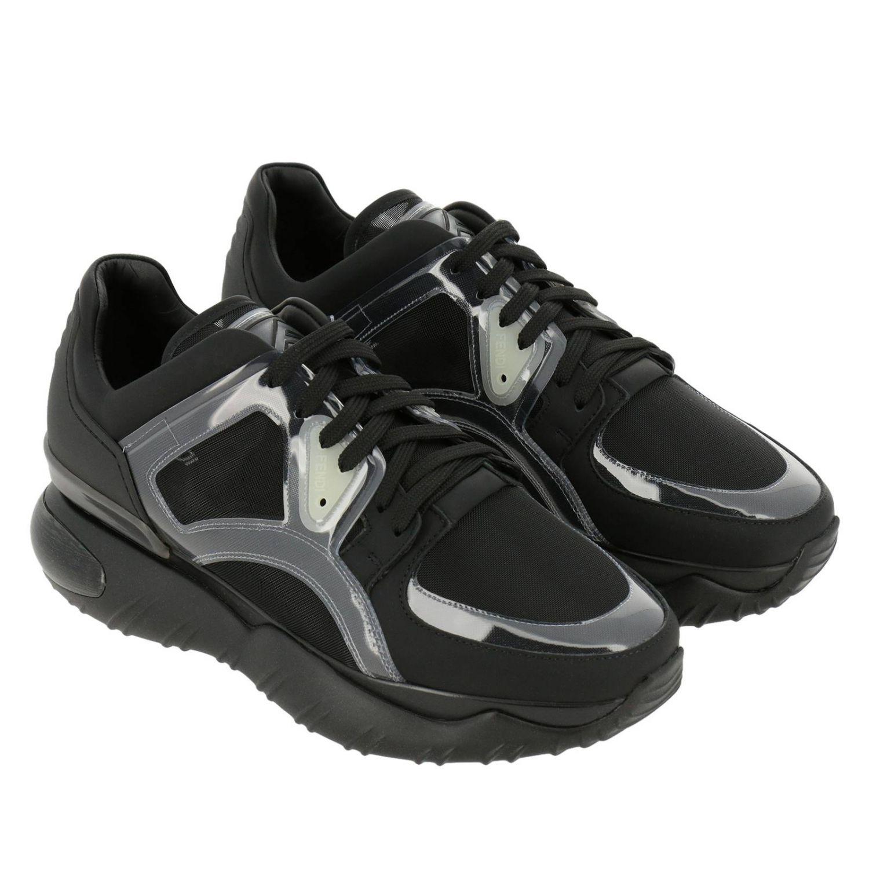 Sneakers stringata in pelle micro rete e pvc con maxi suola in gomma nero 2