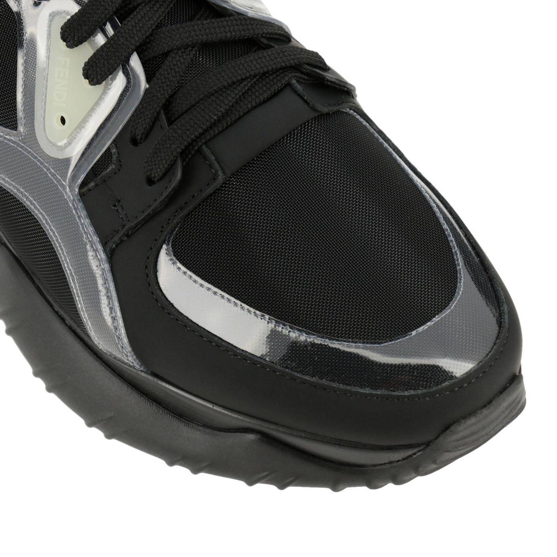 Sneakers stringata in pelle micro rete e pvc con maxi suola in gomma nero 3