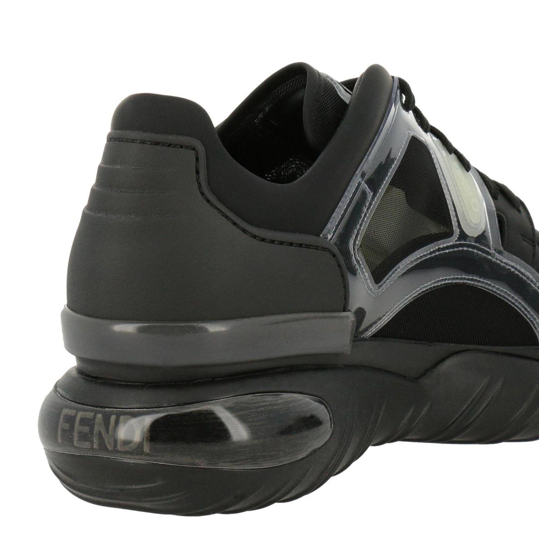 Sneakers stringata in pelle micro rete e pvc con maxi suola in gomma nero 4