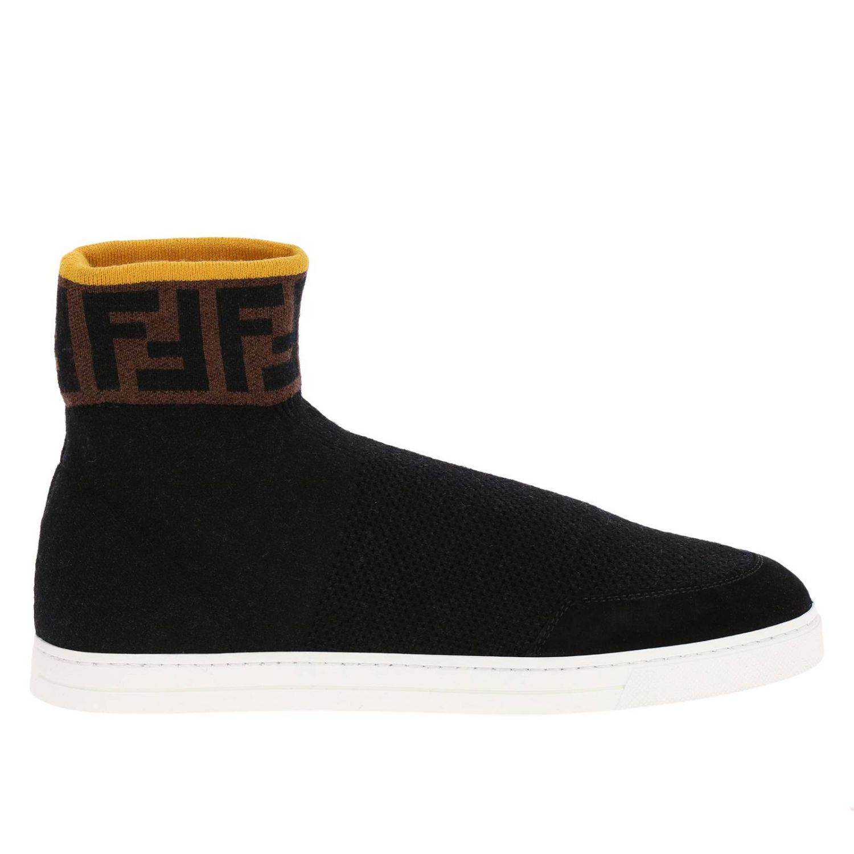 Sneakers a polacco in maglia a crosta con caviglia a calzino FF by Fendi nero 1