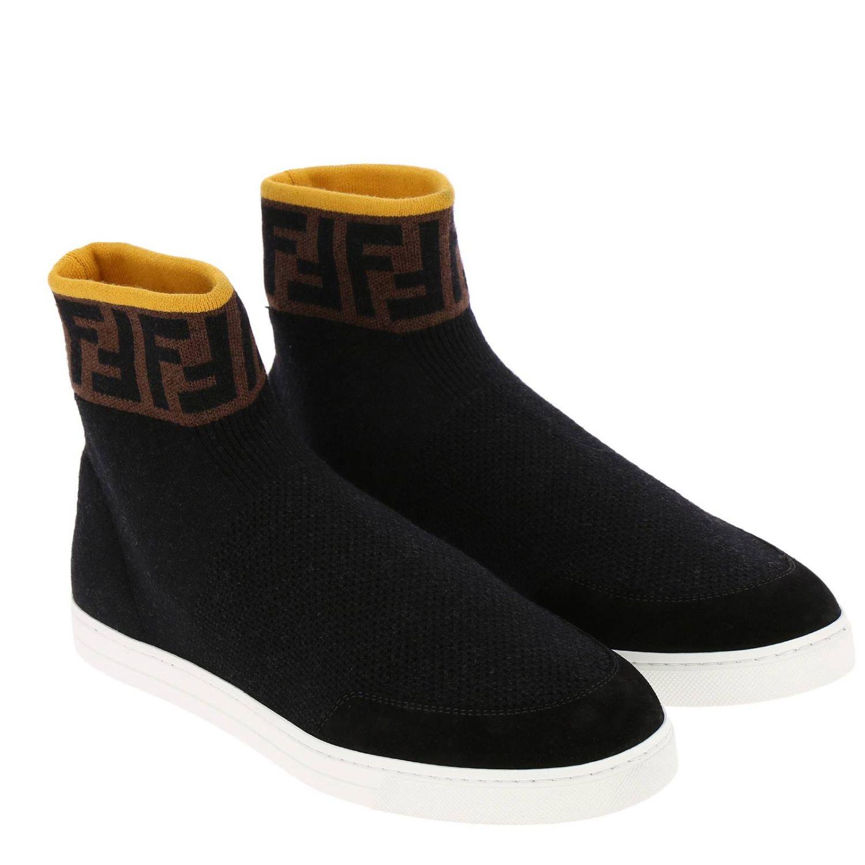 Sneakers a polacco in maglia a crosta con caviglia a calzino FF by Fendi nero 2