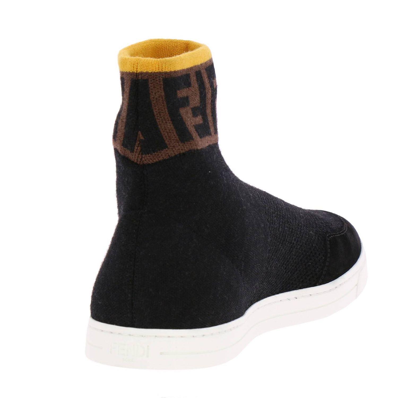 Sneakers a polacco in maglia a crosta con caviglia a calzino FF by Fendi nero 4