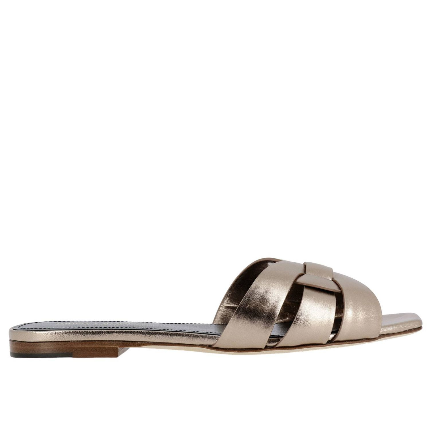 Saint Laurent Tribute sandal in soft laminated leather with crossed straps pink 1