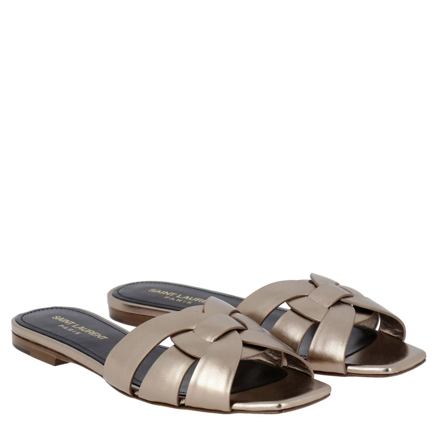 Saint Laurent Tribute sandal in soft laminated leather with crossed straps pink 2