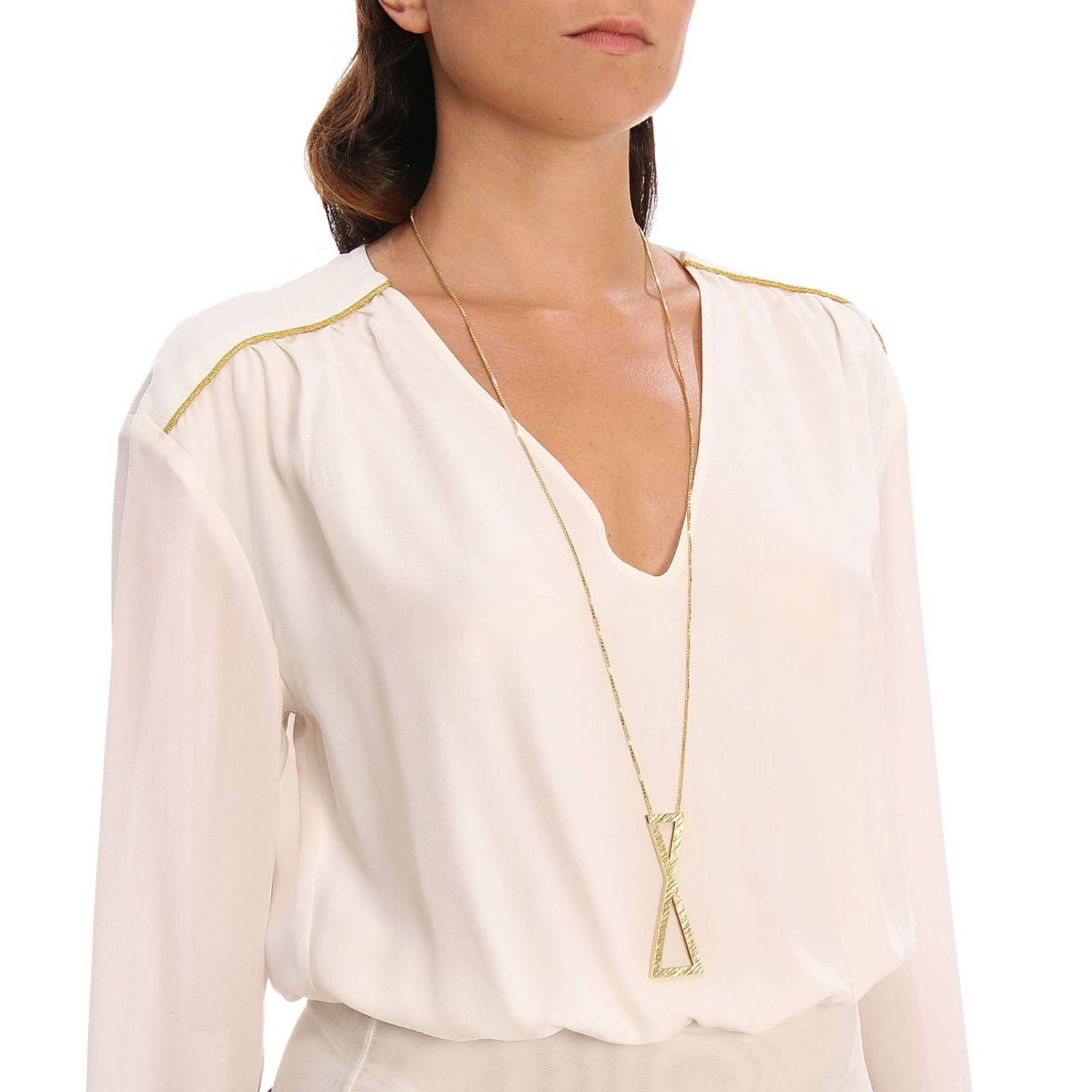 Collana Big clepsydra pendant in argento 925 Linear Collection oro 2