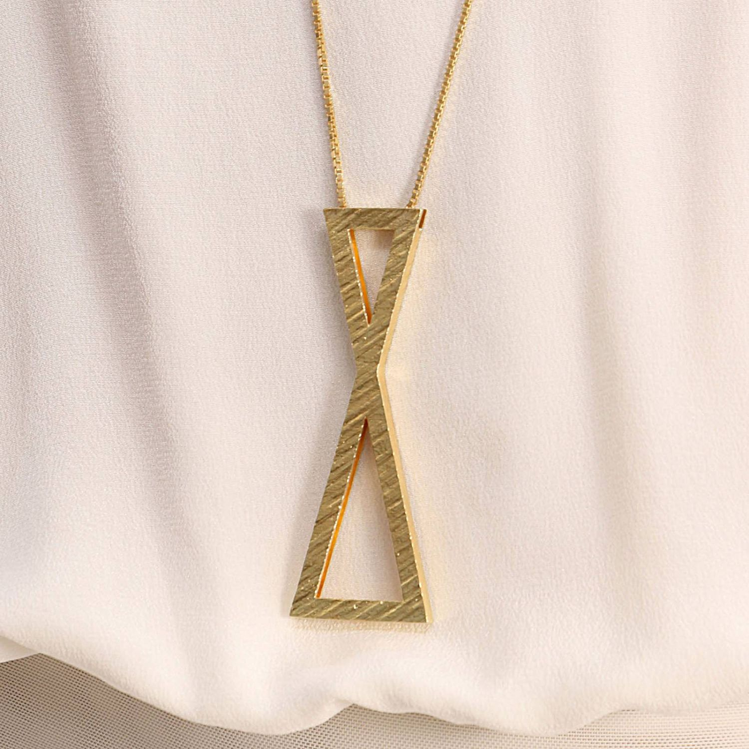 Collana Big clepsydra pendant in argento 925 Linear Collection oro 4