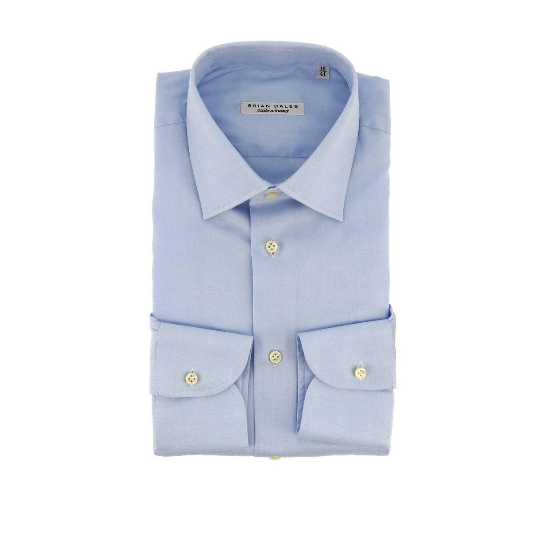 Camicia classica con collo italiano celeste 1