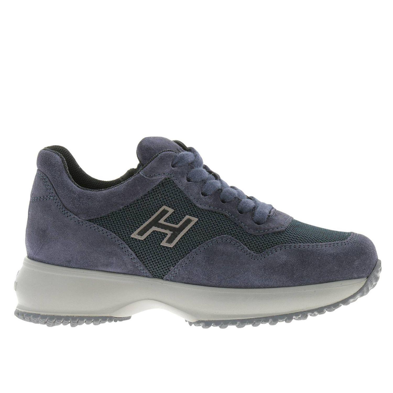 Sneakers Interactive in micro rete e camoscio con H flock e zip blue 1
