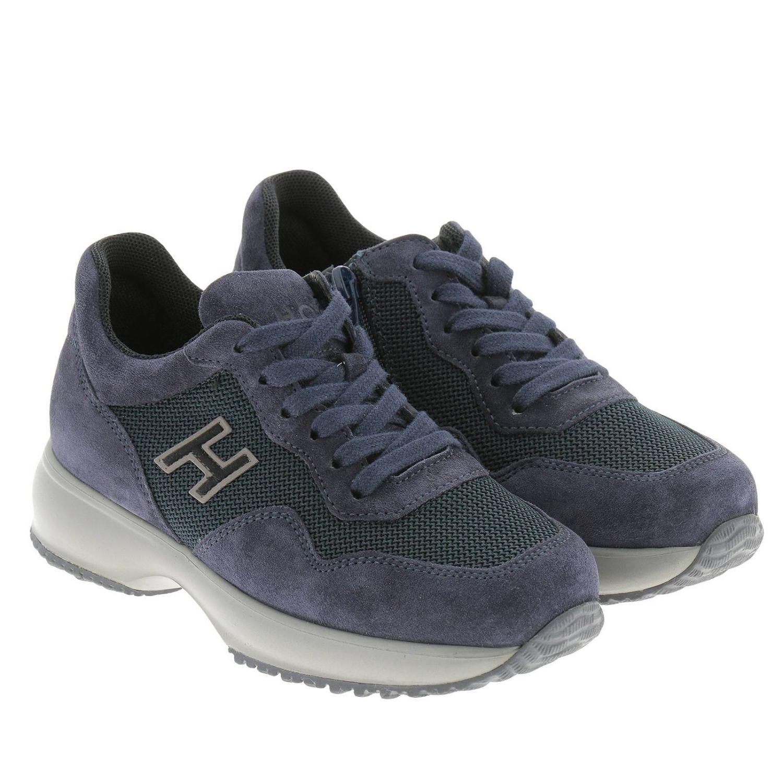 Sneakers Interactive in micro rete e camoscio con H flock e zip blue 2