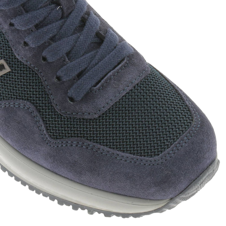 Sneakers Interactive in micro rete e camoscio con H flock e zip blue 3
