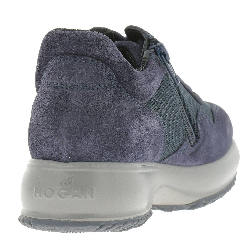 Sneakers Interactive in micro rete e camoscio con H flock e zip blue 4