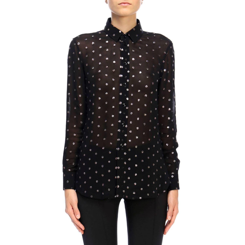 Camicia in georgette con pois glitter fantasia 1
