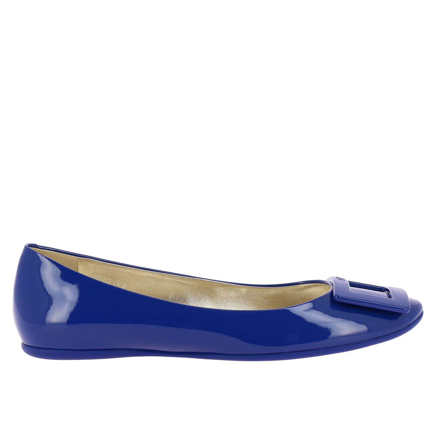 Gommette patent leather Ballet flats with RV buckle royal blue 1