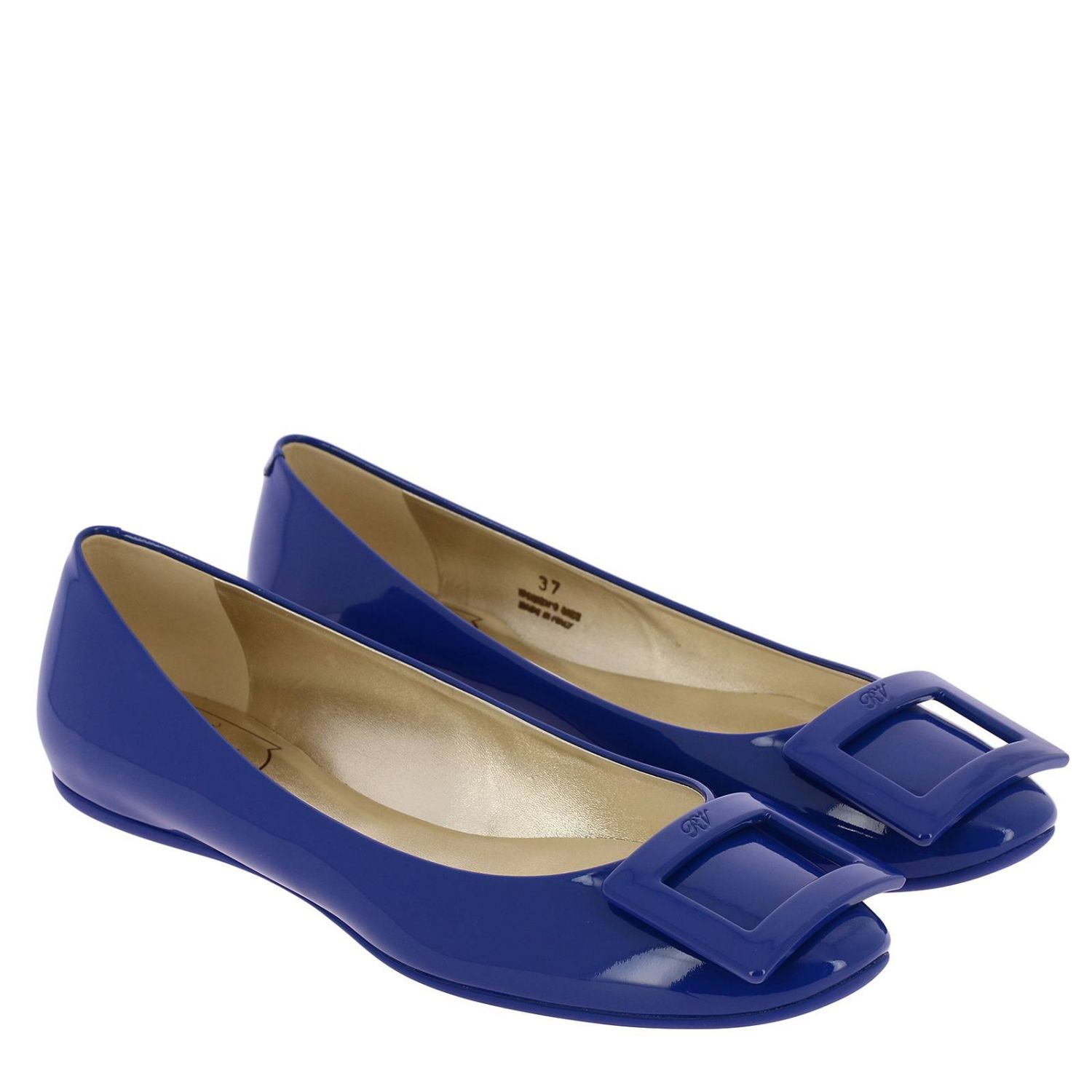 Gommette patent leather Ballet flats with RV buckle royal blue 2