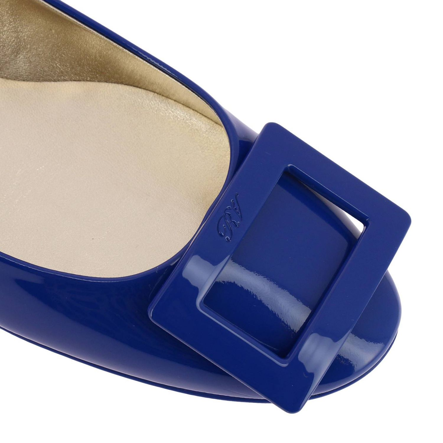 Gommette patent leather Ballet flats with RV buckle royal blue 3