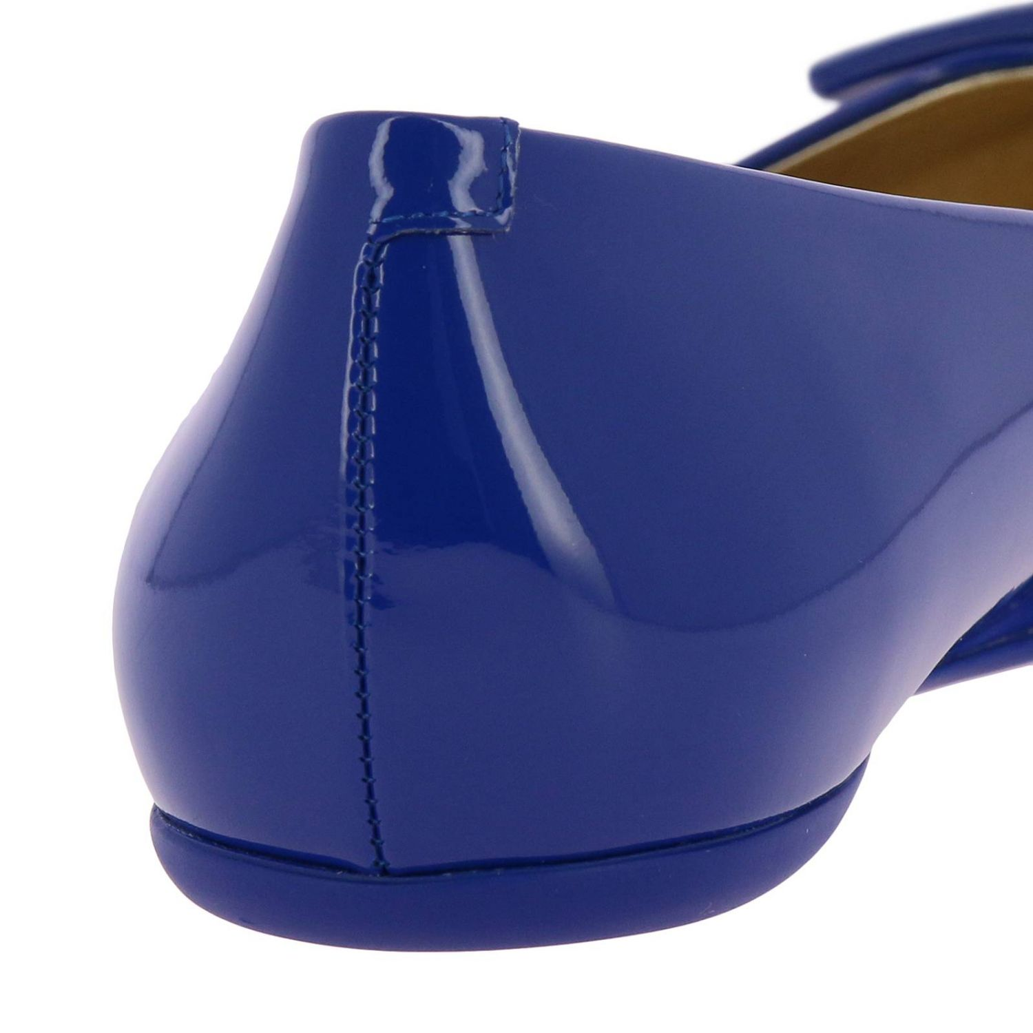 Gommette patent leather Ballet flats with RV buckle royal blue 4