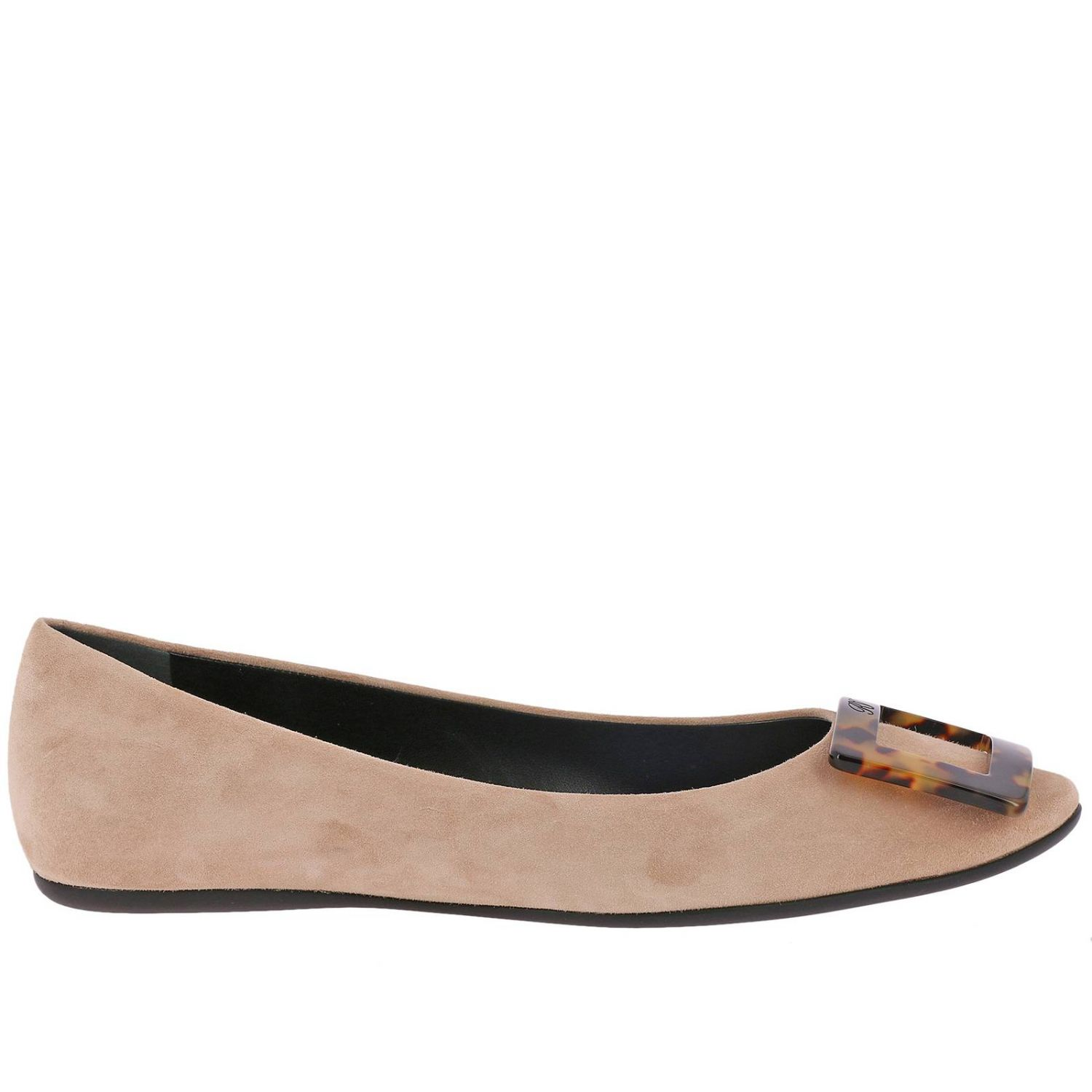Gommette suede ballet flats with RV turtle buckle nude 1