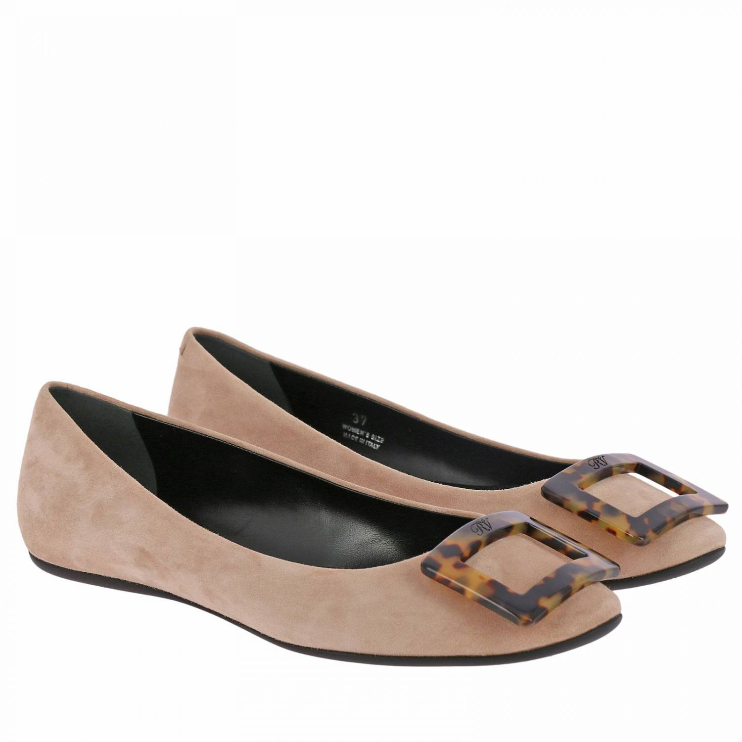 Gommette suede ballet flats with RV turtle buckle nude 2