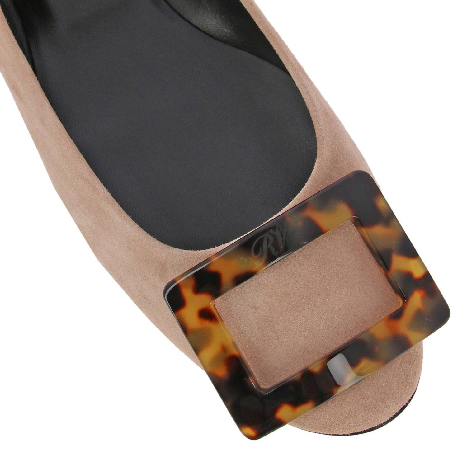 Gommette suede ballet flats with RV turtle buckle nude 3
